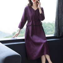 Dress Summer 2021 Picture color M,L,XL,2XL,3XL longuette singleton  Long sleeves commute V-neck middle-waisted Solid color Socket A-line skirt routine 30-34 years old Type A literature Button 6832# 31% (inclusive) - 50% (inclusive) brocade hemp
