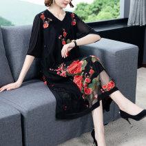 Dress Summer 2020 Gold embroidery, red embroidery L,XL,2XL,3XL,4XL,5XL Gauze 9181#