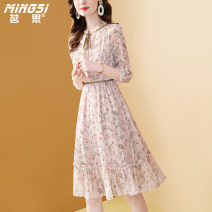 Dress Summer 2021 Decor S M L XL XXL Mid length dress singleton  three quarter sleeve commute other middle-waisted Socket A-line skirt Petal sleeve Others 35-39 years old Type A Mingsi lady Lace up zipper print M21S13818 More than 95% Chiffon polyester fiber Polyester 100%