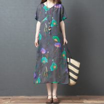 Women's large Summer 2020 Graph color M [suggested 100-115 kg], l [suggested 115-130 kg], XL [suggested 130-145 kg], 2XL [suggested 145-160 kg] Dress singleton  commute easy moderate Short sleeve literature V-neck printing and dyeing routine Other / other 71% (inclusive) - 80% (inclusive) other