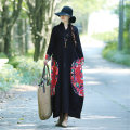 Dress Autumn of 2018 Red, black M,L,XL longuette singleton  Long sleeves commute other Loose waist other Socket A-line skirt routine Others Type A ethnic style printing 71% (inclusive) - 80% (inclusive) other hemp