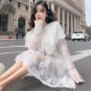 Dress Autumn of 2019 white 2XL, XL, l, one size fits all Mid length dress singleton  Long sleeves commute Crew neck middle-waisted Solid color 18-24 years old Type H Other / other Korean version More than 95%