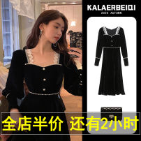 Dress Winter 2020 Little black dress S M L XL 2XL 3XL 4XL longuette singleton  Long sleeves commute square neck High waist Solid color Socket Big swing routine Others 18-24 years old Karrar Betsey / kararbezi Korean version Button lace E11-19SPJ8313-BB More than 95% polyester fiber Polyester 100%