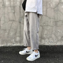 Casual pants Others Youth fashion Gray, black M,L,XL,2XL routine Ninth pants Other leisure Straight cylinder No bullet A374-DK25-P55 2019 middle-waisted Tapered pants Solid color plain cloth