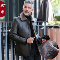 leather clothing Quick tiger Business gentleman 170/M 175/L 180/XL 185/XXL 190/XXXL 195/XXXXL Medium length Imitation leather clothes Lapel easy Single breasted winter leisure time middle age PU Business Casual Round hem Three dimensional bag Multiple pockets No iron treatment Winter of 2018
