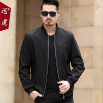 Jacket Quick tiger Business gentleman 1802 black 170/M 175/L 180/XL 185/XXL 190/XXXL routine standard Other leisure spring Polyester 100% Long sleeves Wear out stand collar Business Casual middle age routine Zipper placket Rib hem No iron treatment Closing sleeve Geometric pattern polyester fiber