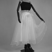 skirt Summer 2020 S. M, l, XL, 2XL, custom color and size (please contact customer service) White, black Mid length dress grace High waist Irregular Solid color Type A 25-29 years old 51% (inclusive) - 70% (inclusive) other Other / other nylon Bowknot, tuck, fold, lace, asymmetry, mesh, zipper