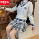 Dress Summer of 2018 S M L XL Short skirt Three piece set Long sleeves commute Polo collar middle-waisted lattice Socket A-line skirt routine Others 18-24 years old Type A Juan Juan Ruolan Korean version Bow fold stitching bandage 51% (inclusive) - 70% (inclusive) cotton Cotton 65% polyester 35%