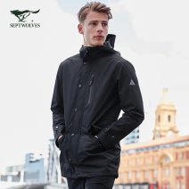 Jacket Septwolves Youth fashion 165/88A/S 170/92A/M 175/96A/L 180/100A/XL 185/104A/XXL 190/108A/XXXL routine standard motion autumn Polyester 100% Long sleeves Wear out Hood tide youth Medium length Single breasted Rib hem Loose cuff other Spring of 2019 Button decoration Three dimensional bag