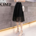 skirt Summer of 2019 black Mid length dress fresh Natural waist Fairy Dress Solid color Type A 18-24 years old Lace Clothing decoration Pleated mesh lace Pure e-commerce (online only)