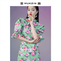 Dress Summer 2021 Baby collar rose cheongsam baby collar rose cheongsam S M L Middle-skirt singleton  Short sleeve Doll Collar Broken flowers Socket 25-29 years old Type H Close fan M79217001 More than 95% polyester fiber Polyester 100% Same model in shopping mall (sold online and offline)