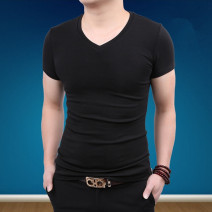 T-shirt Youth fashion Black, white, black routine M. L, XL, 2XL, 3XL, 4XL (weight 180-195 Jin), collect baby purchase priority delivery, full 2 pieces immediately reduce 10 yuan Others Short sleeve V-neck Self cultivation daily summer 735。 Cotton 90% polyurethane elastic fiber (spandex) 10% youth