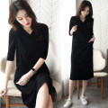 Dress Summer 2021 S M L XL 2XL 3XL 4XL 5XL longuette singleton  elbow sleeve commute V-neck Loose waist Solid color Socket A-line skirt routine 40-49 years old Type H Examinedu / screening Korean version thread ZD19L696H 91% (inclusive) - 95% (inclusive) cotton Pure e-commerce (online only)