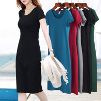 Dress Summer 2021 S M L XL 2XL 3XL 4XL 5XL longuette singleton  Short sleeve commute Crew neck middle-waisted Solid color Socket One pace skirt routine 40-49 years old Type H Examinedu / screening Simplicity thread ZD17L641Y 91% (inclusive) - 95% (inclusive) cotton Pure e-commerce (online only)