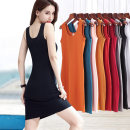 Dress Summer 2021 S M L XL 2XL 3XL 4XL 5XL Mid length dress singleton  Sleeveless commute Crew neck middle-waisted Solid color Socket One pace skirt camisole 30-34 years old Type H Examinedu / screening Simplicity thread 91% (inclusive) - 95% (inclusive) cotton Pure e-commerce (online only)