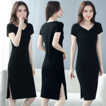Dress Summer 2021 black M L XL 2XL 3XL 4XL longuette singleton  Short sleeve commute V-neck middle-waisted Solid color Socket One pace skirt routine 40-49 years old Type H Examinedu / screening Korean version thread ZD20L378H 91% (inclusive) - 95% (inclusive) cotton Pure e-commerce (online only)