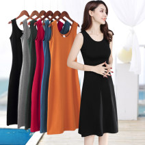 Dress Summer 2021 S M L XL 2XL 3XL 4XL 5XL Mid length dress singleton  Sleeveless commute Crew neck High waist Solid color Socket A-line skirt routine camisole 40-49 years old Type H Examinedu / screening Simplicity thread 91% (inclusive) - 95% (inclusive) cotton Pure e-commerce (online only)