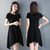 Dress Summer 2021 black M L XL 2XL 3XL 4XL Mid length dress singleton  Short sleeve commute Crew neck High waist Solid color Socket Irregular skirt routine 40-49 years old Type A Examinedu / screening Korean version thread 91% (inclusive) - 95% (inclusive) cotton Pure e-commerce (online only)