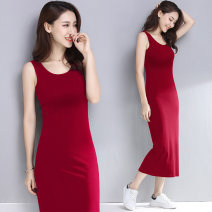 Dress Summer 2021 S M L XL 2XL 3XL 4XL 5XL longuette singleton  Sleeveless commute Crew neck middle-waisted Solid color Socket One pace skirt routine camisole 40-49 years old Type H Examinedu / screening Simplicity thread 91% (inclusive) - 95% (inclusive) cotton Pure e-commerce (online only)