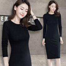 Dress Spring 2021 S M L XL 2XL 3XL 4XL 5XL Mid length dress singleton  Long sleeves commute Crew neck middle-waisted Solid color Socket One pace skirt routine 40-49 years old Type H Examinedu / screening Simplicity thread ZD18L604L 91% (inclusive) - 95% (inclusive) cotton