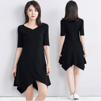 Dress Summer 2021 black M L XL 2XL 3XL 4XL Mid length dress singleton  elbow sleeve commute V-neck High waist Solid color Socket Irregular skirt routine 40-49 years old Type A Examinedu / screening Korean version thread 91% (inclusive) - 95% (inclusive) cotton Pure e-commerce (online only)