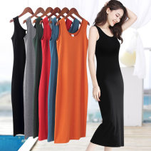 Dress Summer 2021 S M L XL 2XL 3XL 4XL 5XL longuette singleton  Sleeveless commute Crew neck middle-waisted Solid color Socket One pace skirt routine camisole 40-49 years old Type H Examinedu / screening Korean version thread 91% (inclusive) - 95% (inclusive) cotton Pure e-commerce (online only)