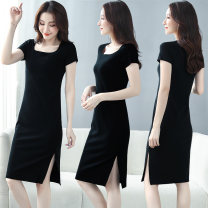 Dress Summer 2021 M L XL 2XL 3XL 4XL longuette singleton  Short sleeve commute square neck middle-waisted Solid color Socket One pace skirt routine 40-49 years old Type H Examinedu / screening Korean version thread ZD20L375H 91% (inclusive) - 95% (inclusive) cotton Pure e-commerce (online only)