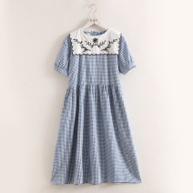 Dress Summer 2020 Black, sky blue Average size Mid length dress singleton  Short sleeve Loose waist lattice Socket Big swing routine Stitching, buttons, embroidery More than 95% cotton