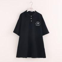 Dress Summer 2020 black Average size singleton  Short sleeve Polo collar Loose waist Socket Big swing Print, button More than 95% cotton
