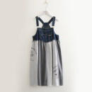 Dress Autumn of 2018 As shown in the figure Average size singleton  Sweet Loose waist letter Socket A-line skirt straps Pocket, stitching, vintage, strap, button, print More than 95% cotton Mori
