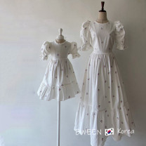 Parent child fashion Dress white Women's dress female Other / other 90cm, 100cm, 110cm, 120cm, 130cm, 140cm, 150cm, mom s, mom m, mom L KDG21041453 summer Korean version routine other skirt other M,L,S KDG21041453 Other 100%