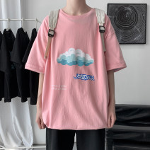T-shirt Youth fashion Pink, black routine M. L, XL, 2XL, 3XL, s small, 4XL, 5XL, XS plus small Others Short sleeve Crew neck easy daily summer Cotton 100% teenagers Off shoulder sleeve tide Cotton wool 2021 other printing cotton natural scenery other More than 95%