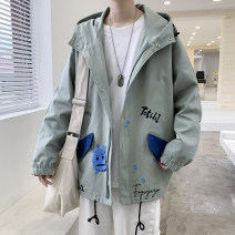 Jacket Other / other Youth fashion Black, khaki, army green M. L, XL, 2XL, 3XL, s small, 4XL, 5XL, XS plus small routine easy motion spring Long sleeves Wear out Hood Youthful vigor teenagers routine Zipper placket 2021 Cloth hem washing Closing sleeve Geometric pattern Color matching cotton