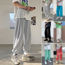 Casual pants Others Youth fashion White, light gray, black, rose red, light green, lake blue M. L, XL, 2XL, 3XL, s small, XS plus small routine Ninth pants Other leisure easy Micro bomb Four seasons teenagers Exquisite Korean style 2021 Little feet Sports pants Solid color Terry cloth
