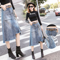 Women's large Summer of 2019 skirt commute easy moderate Korean version Denim, cotton Make old JSWETR 18-24 years old Button 51% (inclusive) - 70% (inclusive) Medium length other