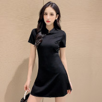 Dress Summer 2020 6210 black short sleeve 8911 black half sleeve 8660 black long sleeve 8737 black collar with diamond S M L XL XXL Short skirt Two piece set Short sleeve commute stand collar High waist Solid color zipper A-line skirt routine Others 25-29 years old Yuemei Butterfly Korean version