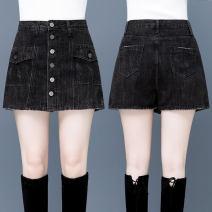 Casual pants black 26/S 27/M 28/L 29/XL 30/2XL XXXL/31 XXXXL/32 XXXXXL/33 Summer 2021 shorts Wide leg pants High waist Versatile routine 91% (inclusive) - 95% (inclusive) ZFN8863-1 Filiform flower Cotton 93.2% rayon 6.8% Pure e-commerce (online only)
