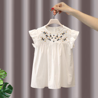 Dress White blue female ADM / yidema 90cm 100cm 110cm 120cm 130cm Other 100% summer leisure time Short sleeve Solid color cotton A-line skirt Summer 2021 18 months, 2 years old, 3 years old, 4 years old, 5 years old, 6 years old, 7 years old Chinese Mainland