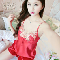 Pajamas / housewear set female Famous Botai 155(S)160(M)165(L)170(XL)175(XXL) Polyester (polyester) camisole sexy pajamas summer Thin money V-neck Solid color shorts youth 2 pieces rubber string More than 95% silk Embroidery Phoenix's little suit Polyester 100% Spring of 2018