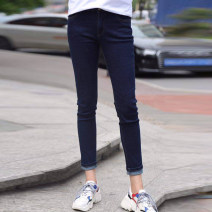 Casual pants Denim blue 1 = XS, 2 = s, 3 = m, 4 = L, 5 = XL Spring 2021 Ninth pants Pencil pants Natural waist commute routine 25-29 years old 96% and above Pinge Dixin cotton Simplicity pocket cotton