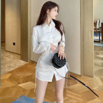 Dress Autumn 2020 White purple black S M L Short skirt singleton  Long sleeves Sweet Polo collar High waist Solid color Single breasted A-line skirt shirt sleeve Others 18-24 years old Type A Qiansha'er Pleated lace up button More than 95% other Other 100% Ruili Pure e-commerce (online only)