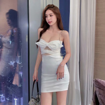 Dress Summer 2020 White black S M Short skirt singleton  Short sleeve Sweet One word collar High waist Solid color Socket A-line skirt other camisole 18-24 years old Type A Qiansha'er Open back chain mesh zipper 0V2177 More than 95% other Other 100% Ruili Pure e-commerce (online only)