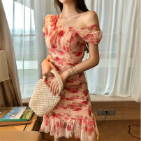 Dress Summer 2020 Picture color S M Short skirt singleton  Short sleeve Sweet square neck High waist Broken flowers Socket A-line skirt puff sleeve Others 18-24 years old Type A Qiansha'er Open back fold 0H6265 More than 95% other Other 100% Ruili Pure e-commerce (online only)
