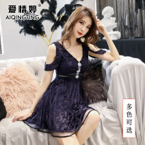 Dress Winter of 2018 Pink Navy More customized s ml XL XXL Short skirt singleton  Sleeveless commute V-neck High waist Solid color Socket A-line skirt raglan sleeve Others 25-29 years old Type A Love Ting lady Three dimensional decoration with ruffle and drill T1053 More than 95% polyester fiber