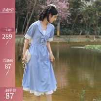 Dress Summer 2021 Blue Short Sleeve original factory spot direct sales , Blue long sleeve original factory spot direct sales S,M,L,XL Mid length dress singleton  Short sleeve commute Admiral middle-waisted Solid color Big swing shirt sleeve Others 18-24 years old Type A Retro Lace up, zipper