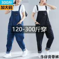 Women's large Spring of 2019 Jeans other easy Conjoined Solid color other Denim other 04134-a3-5-strap denim Qi is in love 18-24 years old pocket 81% (inclusive) - 90% (inclusive) other straps other 5XL,6XL,7XL,8XL Black, blue