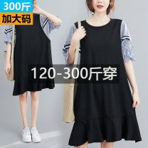 Women's large Summer 2020 Dress commute easy stripe Korean version other polyester other 2002-a4-2 striped ribbon sleeve skirt 25-29 years old Qi is in love 51% (inclusive) - 70% (inclusive) other Lotus leaf edge other 2XL,3XL,4XL,5XL black