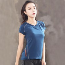 Women's large Spring of 2018 T-shirt singleton  commute easy thin Socket Short sleeve Korean version V-neck routine routine 25-29 years old zipper Pure e-commerce (online only)