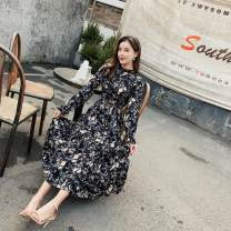 Dress Spring of 2019 Blue, black S,M,L,XL longuette singleton  Long sleeves commute Lotus leaf collar middle-waisted Broken flowers Socket A-line skirt pagoda sleeve Type A Other / other Lotus leaf edge 71% (inclusive) - 80% (inclusive) Chiffon