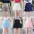 skirt Spring 2020 S,M,L,XL White, black, blue, pink, gray, navy Short skirt Pleated skirt Solid color 18-24 years old other Splicing